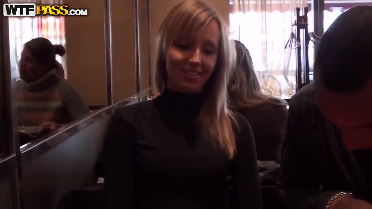 Tempting blonde slut Stacy sucks cock in toilet