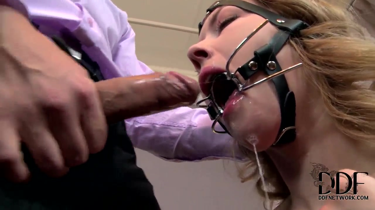 Pale Kandall N gets her face fucked in BDSM session